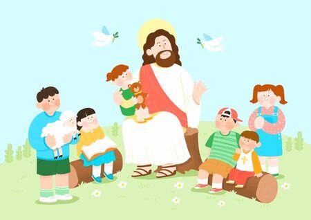 Concept of summer bible school or camp vector illustration Banco de Imagens