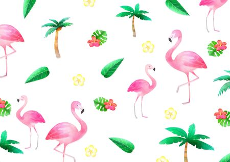 flamingo with tropical plant, Concept of summer pattern design illustration Фото со стока