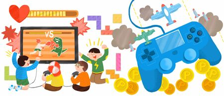 Concept of teenager playing video game flat vector illustration
