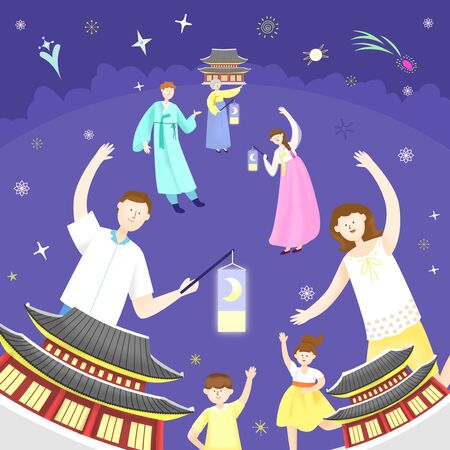 Concept of summer outdoor activities with korean costume and tanglung, summer festivals vector illustration