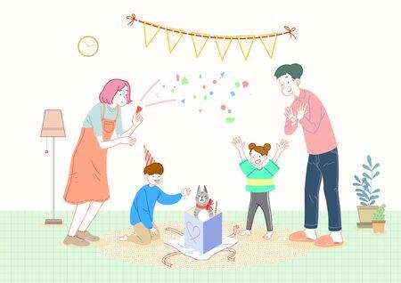 Concept of a happy and loving family celebrating vector illustration Standard-Bild - 130545194