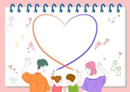 Concept of a happy and loving family vector illustration Standard-Bild - 130545470