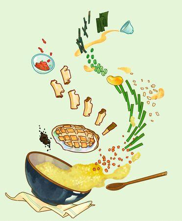 Korean summer food concept illustration Stock Photo