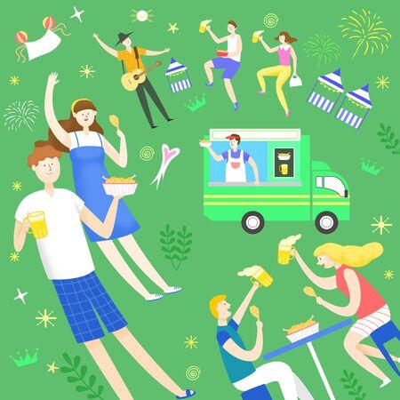 Concept of summer food festivals vector illustration