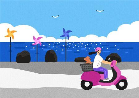 Happy summer travel illustration 003