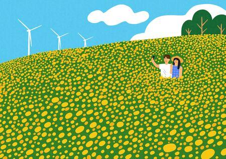 Happy summer travel illustration 006 Banque d'images