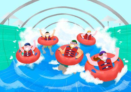 Summer holiday, summer vacation time in Aquapark illustration 001
