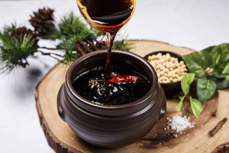 Concept of Korean traditional sauces, soy sauce,