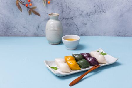 Concept of Korean traditional objects, wrapping cloth and refreshments.