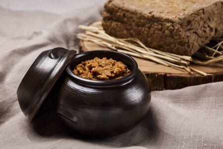 Concept of Korean traditional sauces, soybean paste