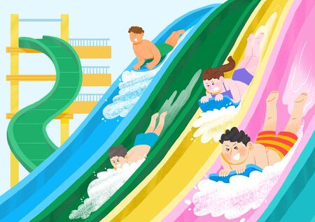 Summer holiday, summer vacation time in Aquapark illustration Banque d'images