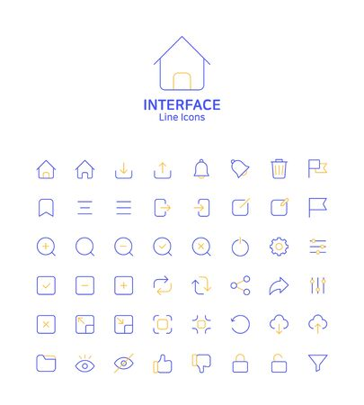 Modern thin line flat design icons set for website and app design 069