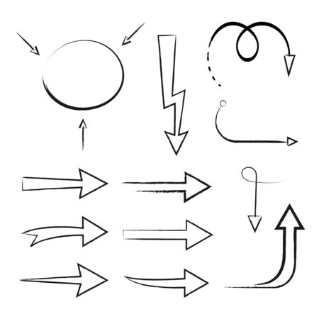 Hand drawn style arrows and abstract doodle in various directions illustration