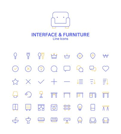 Modern thin line flat design icons set for website and app design 070 Иллюстрация