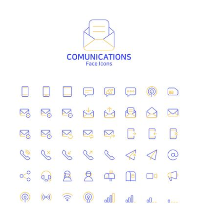 Modern thin line flat design icons set for website and app design 067