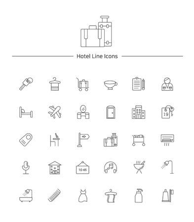 Hotel service line icon sets illustration Illustration