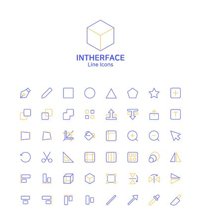 Modern thin line flat design icons set for website and app design 075