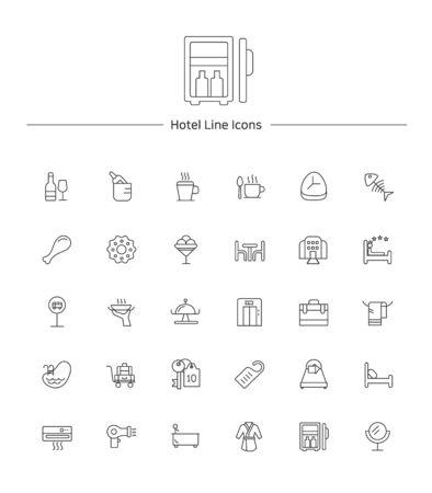 Hotel service line icon sets illustration 向量圖像