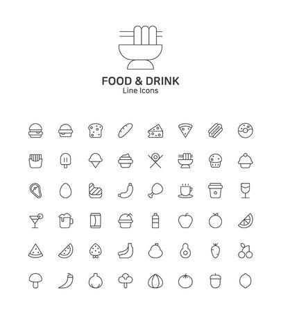 Modern thin line flat design icons set for website and app design Stock Illustratie