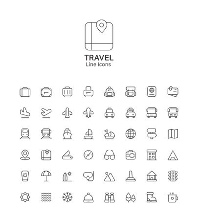 Modern thin line flat design icons set for website and app design Stock Illustratie