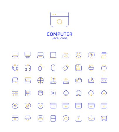 Modern thin line flat design icons set for website and app design Иллюстрация