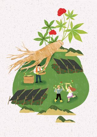 Season of harvest of fresh food materials illustration. vegetables, fruits, fishes, meat and so on. 010