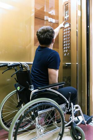 Disabled handicapped man sitting on wheelchair 068