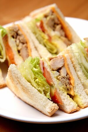 Sandwich with lettuce and tomato and cheese on a plate