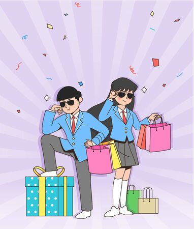 Happy students teenagers cartoon character illustration 014 스톡 콘텐츠 - 141869511