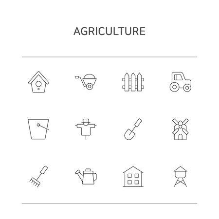 Set of thin line icons illustrations 008 Illustration