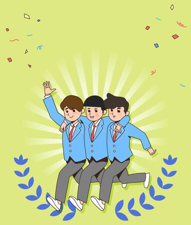 Happy students teenagers cartoon character illustration 010 스톡 콘텐츠 - 141869827