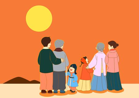 Korean new year holiday concept, happy family having a good time together illustration 010 스톡 콘텐츠 - 141791852