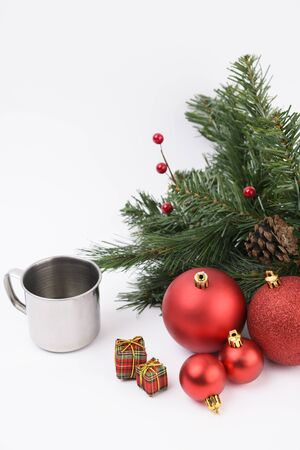 Merry Christmas seasonal concept, Christmas various decorations and gift box elements 020 Stock Photo