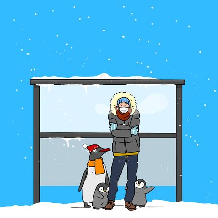 Wintertime concept, ways to stay warm or fight the winter cold illustration 001