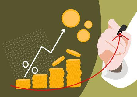 Financial concept, increasing arrow illustration 009 일러스트