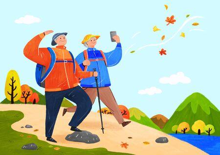Happy senior life, healthy active lifestyle concept illustration 스톡 콘텐츠 - 144250912