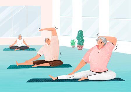 Happy senior life, healthy active lifestyle concept illustration 스톡 콘텐츠 - 144251469