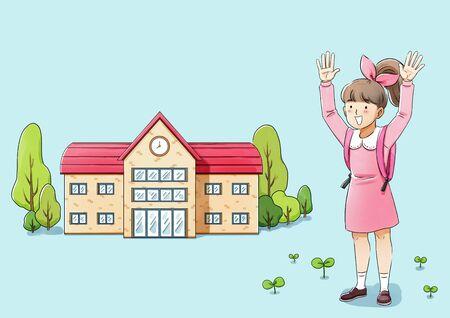 Happy graduates student. girl celebrating graduation illustration 스톡 콘텐츠 - 144259633