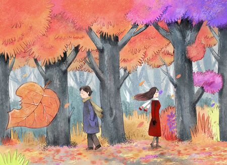Beautiful autumn season landscape with boy and girl