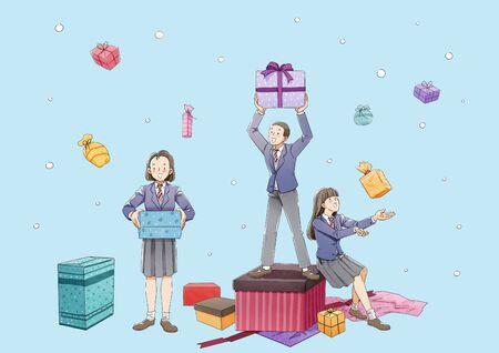 Happy graduates student. Boys and girls celebrating graduation illustration 006 스톡 콘텐츠 - 144308766