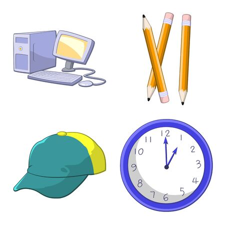 Set of colorful cartoon icons 일러스트