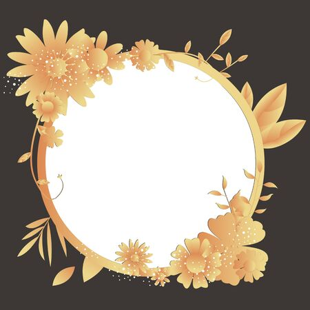 Floral frame background with various colorful flowers 免版税图像 - 144340148