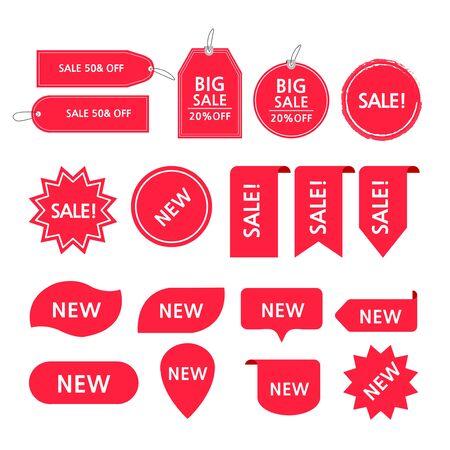 Set of vintage arrows and promotion badges illustration