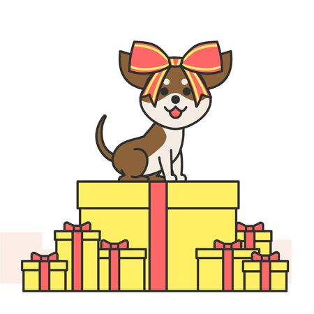Cute and lovely dog, pets icon illustration Illustration