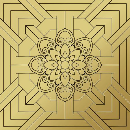 Korean traditional patterns, ornaments and symbols in asian design style illustration