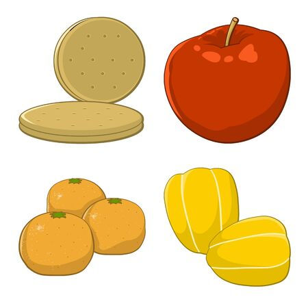 Set of colorful fruits cartoon icons