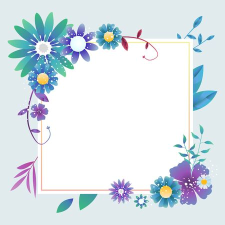 Floral frame background with various colorful flowers