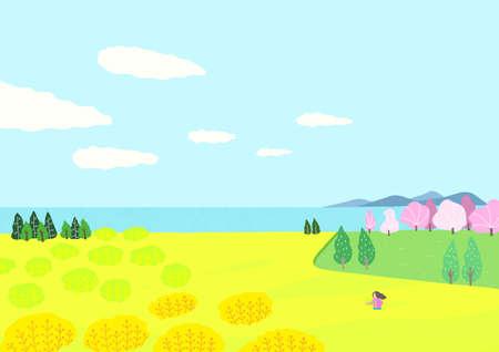 Beautiful spring natural scenery illustration 012