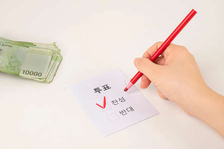 Voting and Election concept, voting paper in the ballot box 048