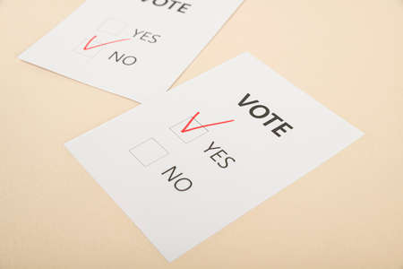 Voting and Election concept, voting paper in the ballot box 052